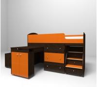 Кровать-чердак МАЛЫШ венге/оранжевый