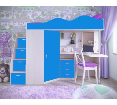Кровать чердак Пионер дуб/голубой