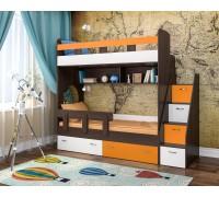 Двухъярусная кровать Юниор-1 бодего/белый/оранж