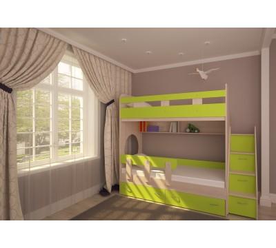 Двухъярусная кровать Юниор-1 дуб/лайм