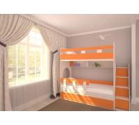 Двухъярусная кровать Юниор-1 дуб/оранж