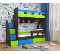 Двухъярусная кровать Юниор-1 венге/лайм/голубой