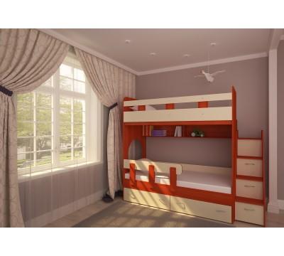 Двухъярусная кровать Юниор-1 вишня/бежевый