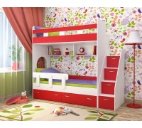Двухъярусная кровать Юниор-1 белый/красный