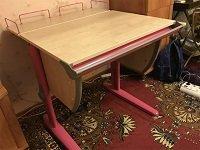 Стол ДЭМИ модель СУТ 14-01 клен / розовый