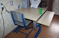 Парта ДЭМИ модель СУТ 14-02 клен / синий со стулом СУТ-01