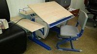 Детская парта для дома - комплект мебели ДЭМИ модель СУТ 14-02 клен / синий со стулом