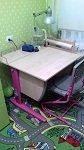 Растущая парта ДЭМИ модель СУТ14-01 клен розовый со стулом