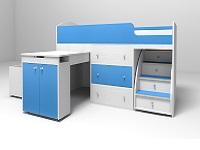 Кровать-чердак Малыш белый / голубой
