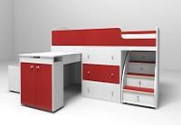 Кровать-чердак Малыш белый / красный