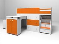 Кровать-чердак Малыш белый / оранжевый