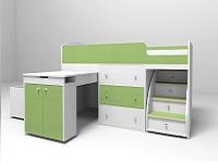 Кровать-чердак малыш белый / зеленый