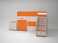 кровать-чердак Малыш дуб / оранжевый