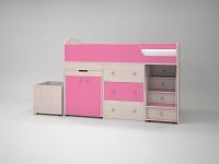 Кровать-чердак Малыш дуб / розовый