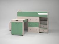 кровать чердак Малыш дуб/зеленый