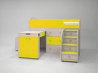 Кровать-чердак дуб / желтый