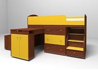 Кровать-чердак Малыш орех / желтый