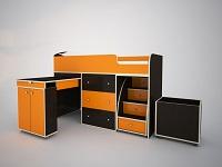 Кровать-чердак Малыш венге / оранжевый