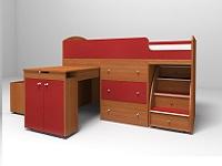 Кровать-чердак Малыш вишня / красный