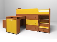 Кровать-чердак Малыш  вишня / желтый