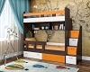 Двухъярусная кровать для подростков Юниор-1 Бодего/Белый/Оранж