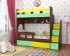 Двухъярусная кровать Юниор-1 Орех/Желый/Зеленый